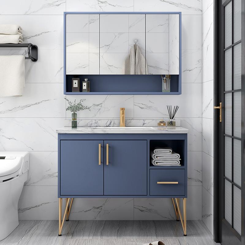 OUBAMA Rockboard light luxury oak bathroom cabinet combination Nordic floor-standing washbasin wash