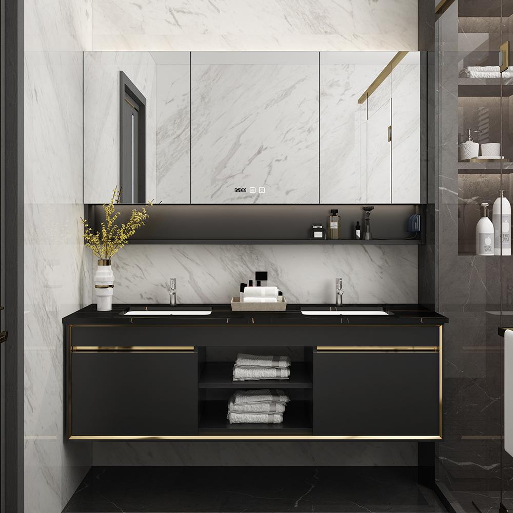 SAIMEITE New style rock board bathroom cabinet wall-mounted bathroom smart mirror cabinet hotel