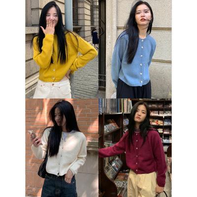 EAL Áo khoác lửng [Nan Tao] Mùa thu và mùa đông 2020 lười biếng hàn quốc áo len đan len cardigan nữ