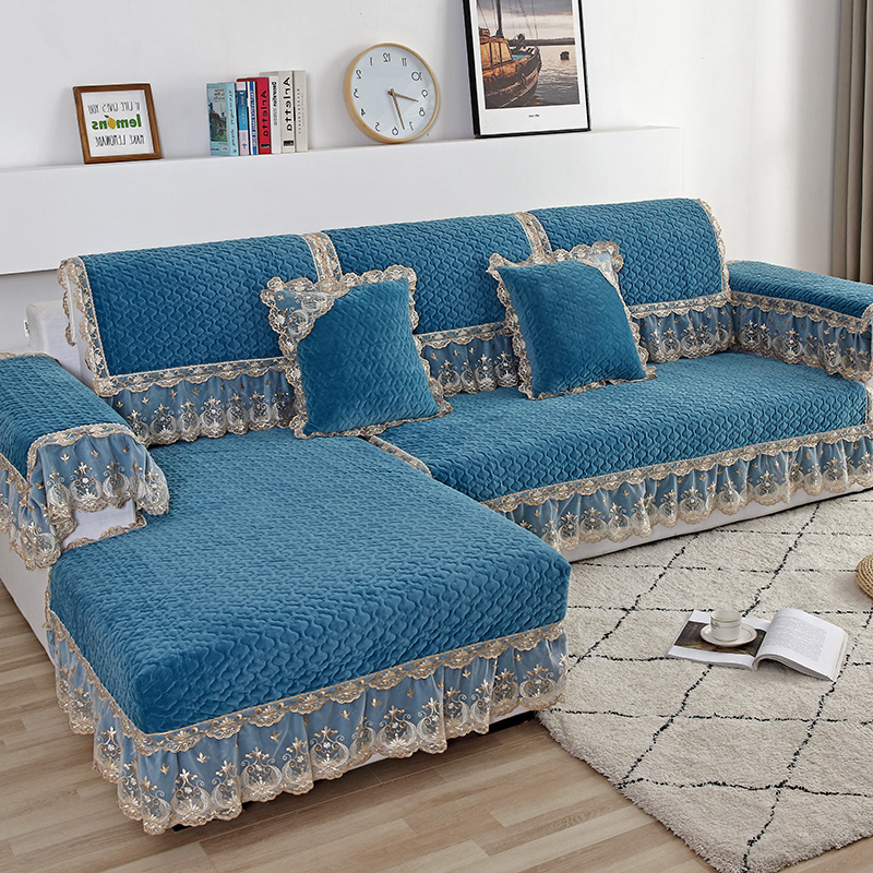 QIANXING Blue European-style plush sofa cushion four seasons universal all-inclusive sofa cover cove