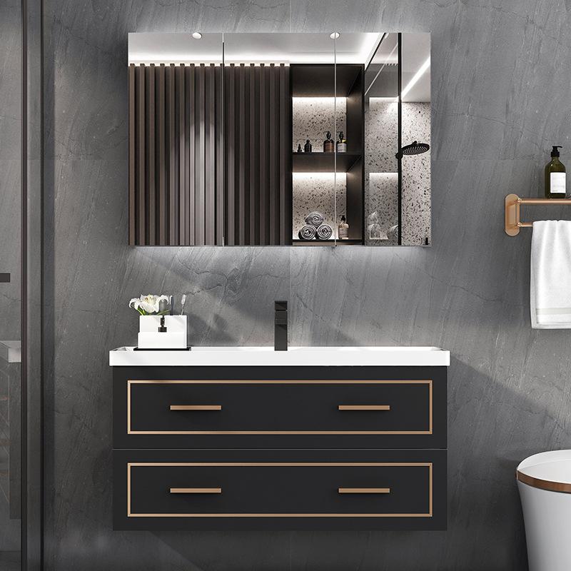 Light luxury solid wood bathroom cabinet washbasin wash basin cabinet combination smart mirror cabin