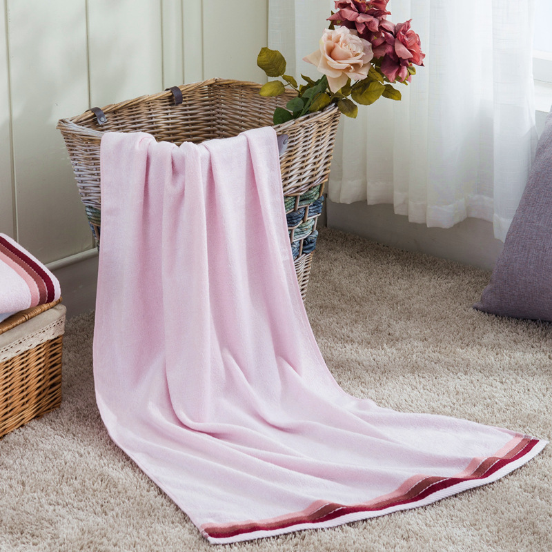 TANZUOFANG Bamboo fiber bath towel thickened color strip bath towel wholesale adult soft absorbent 7