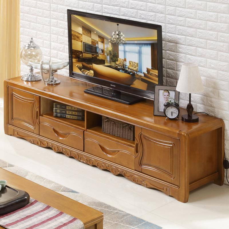QIANSHANG Solid wood TV cabinet simple modern Chinese storage cabinet living room furniture bedroom