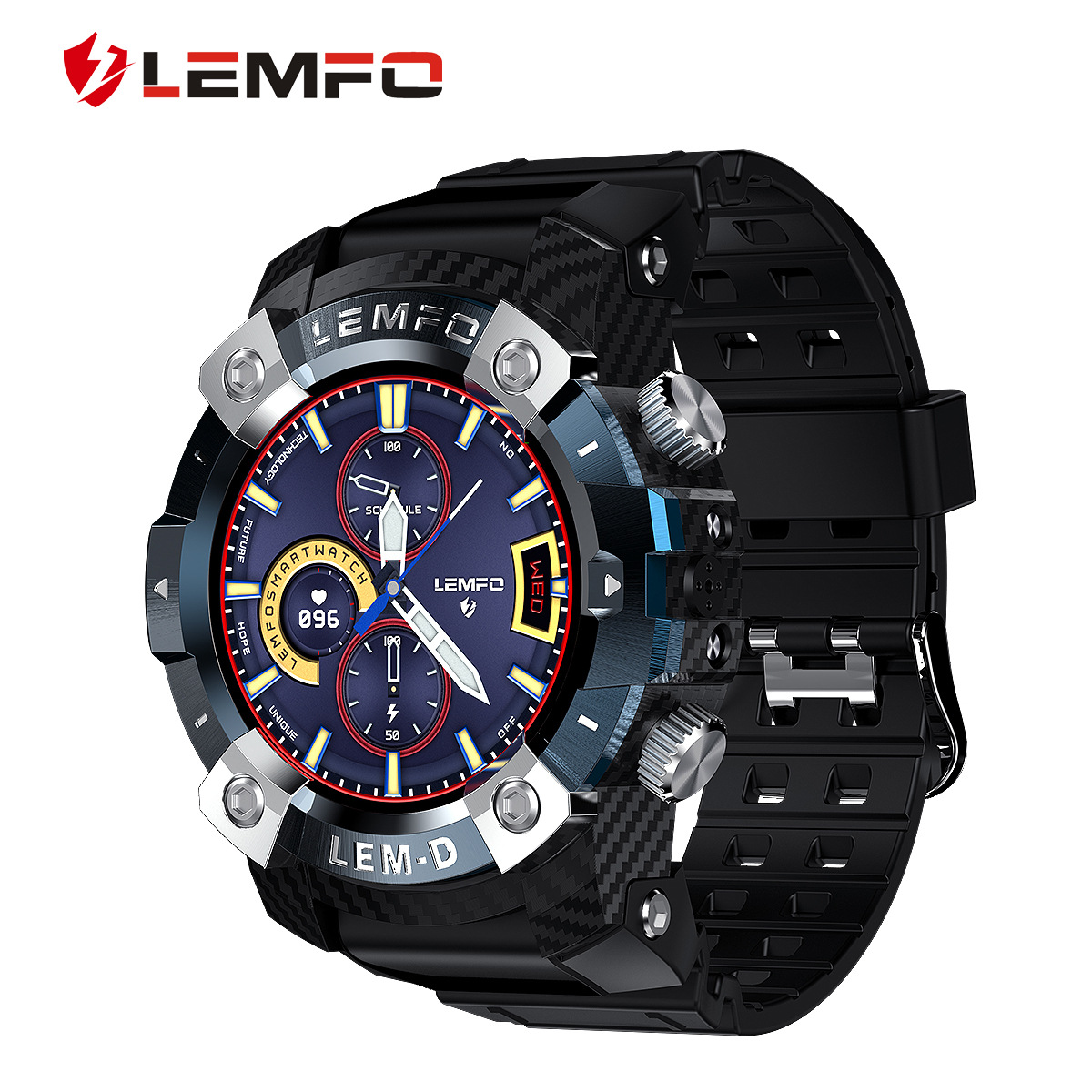 LEMFO 1.3 inch stainless steel ring 360*360HD dual bluetooth TWS earphone LEMD smart watch