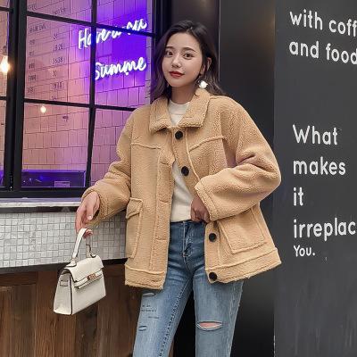 BAISU Áo khoác lửng Mùa thu và mùa đông 2019 phiên bản mới của Hàn Quốc của áo khoác len cừu ngắn mà