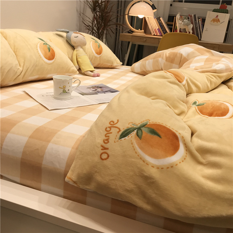 YUANDA Milk coral fleece 4-piece set warm double-sided flannel thickened bed quilt cover sheet cream