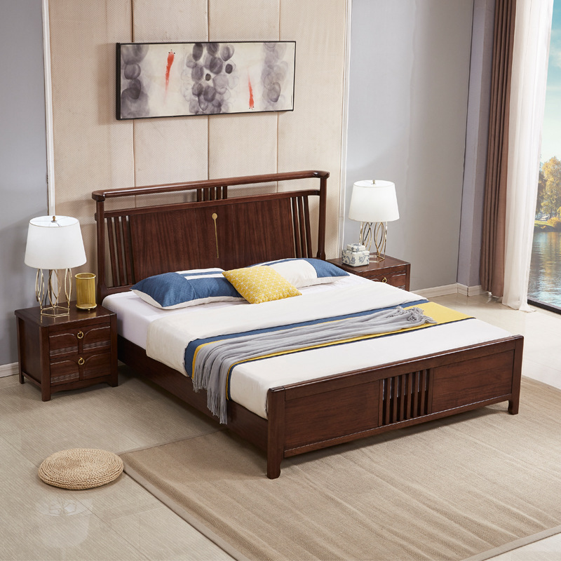 Solid wood bed new Chinese style golden silk sandalwood 1.8m double bed all solid wood bed modern si