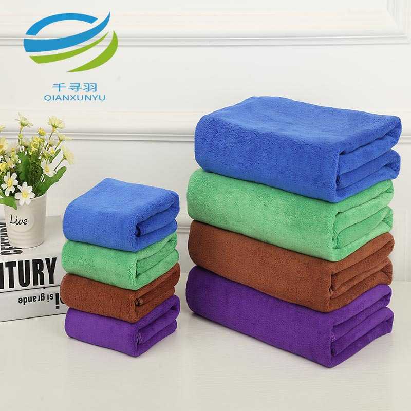 QIANXUNYU 420g 30*70 microfiber car wash towel thickened absorbent car towel dry hair towel supplies