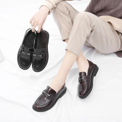 Giày tây kiểu lười bằng da phong cách giản dị cho phụ nữ