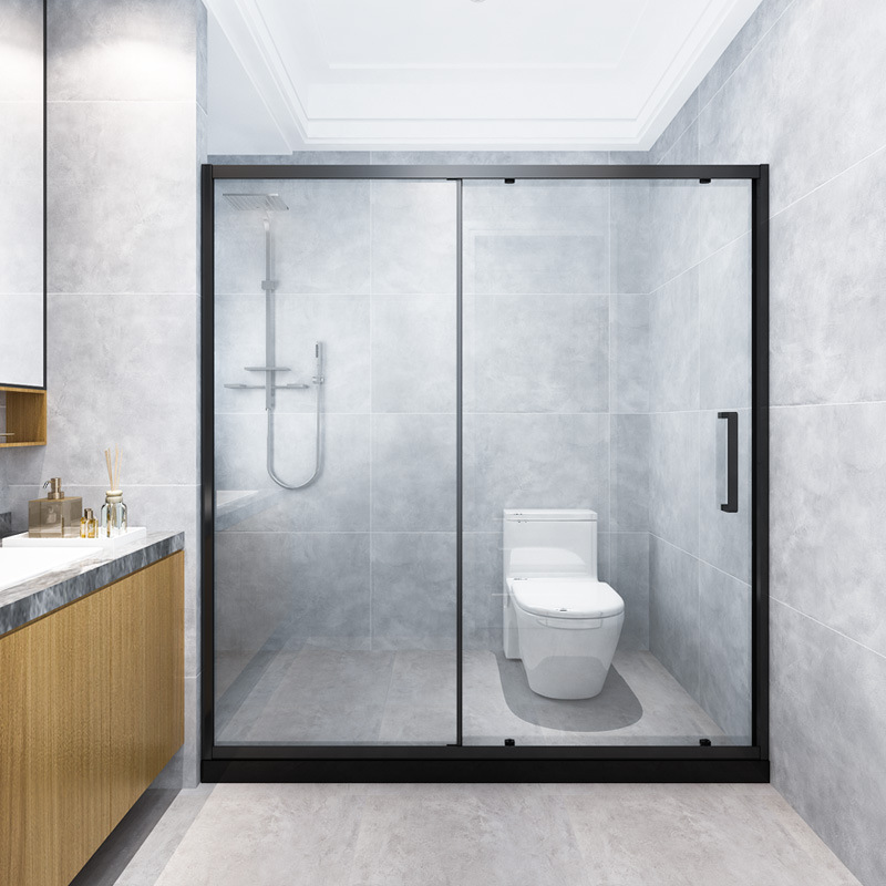 In-line black 304 stainless steel shower room double door straight partition bathroom toilet wet and