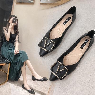 Giày búp bê Da mềm mũi nhọn kiểu dáng thời trang