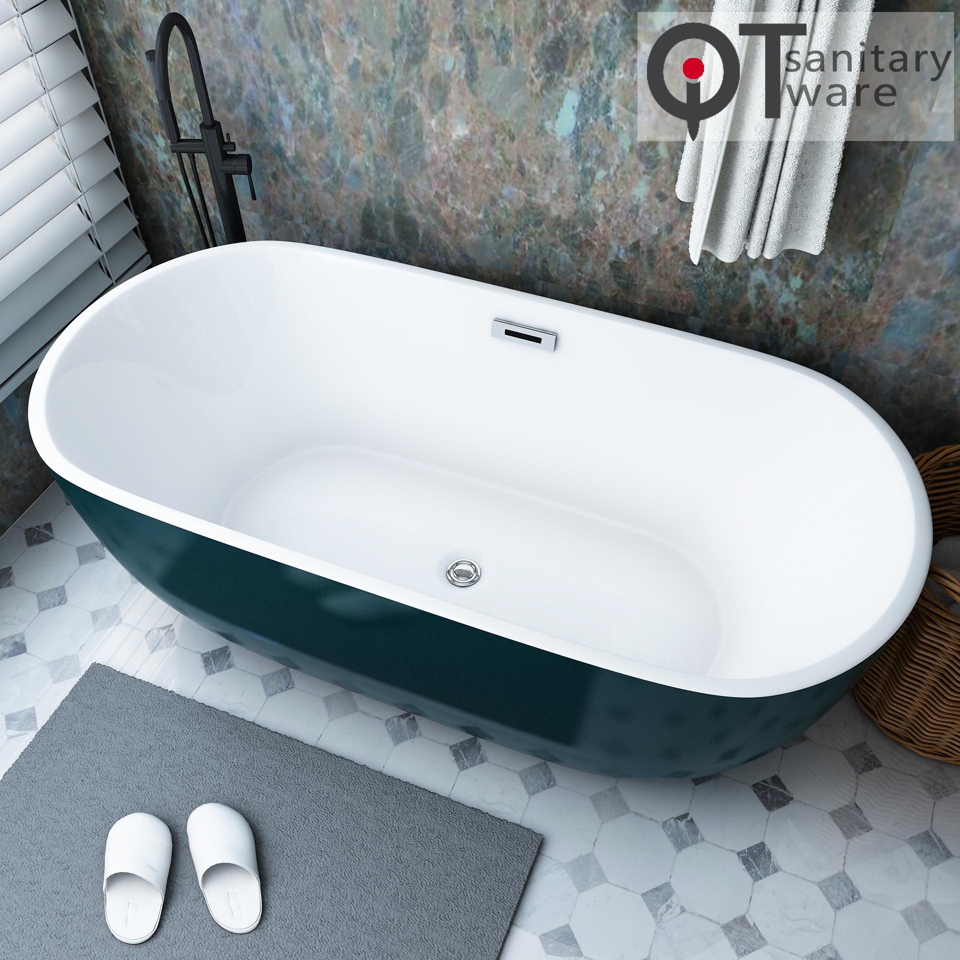 Bồn tắm acrylic hình bầu dục cho khách sạn QT-088