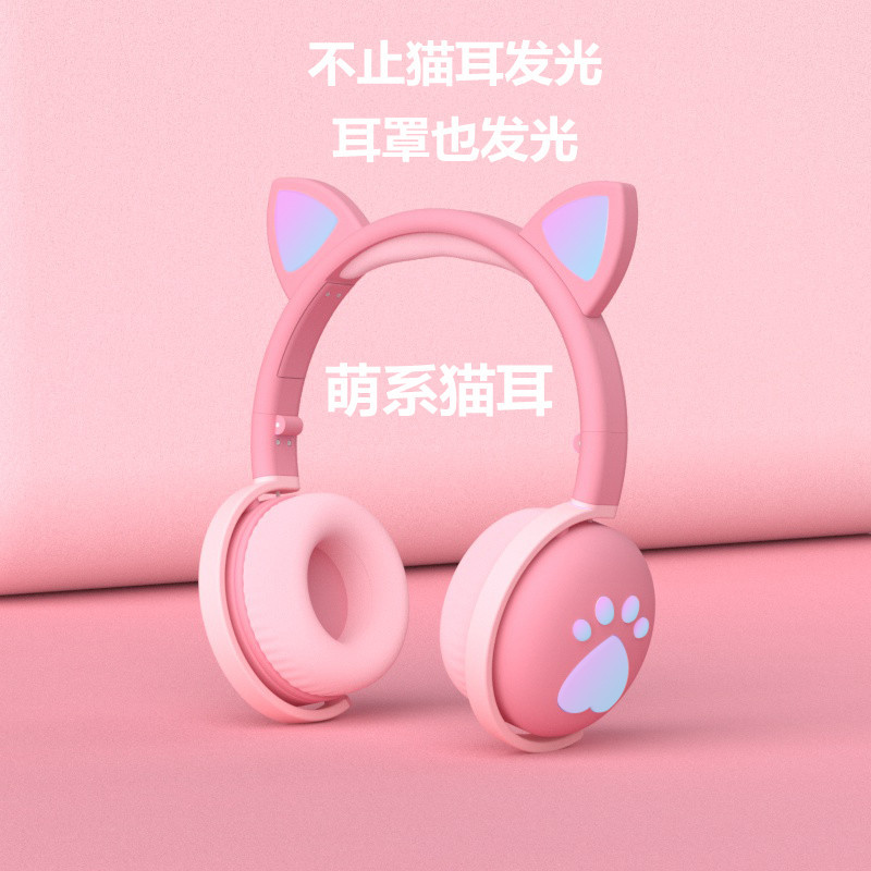 Cat ear headset bluetooth headset led luminous foldable children's gaming wireless 5.0 headset