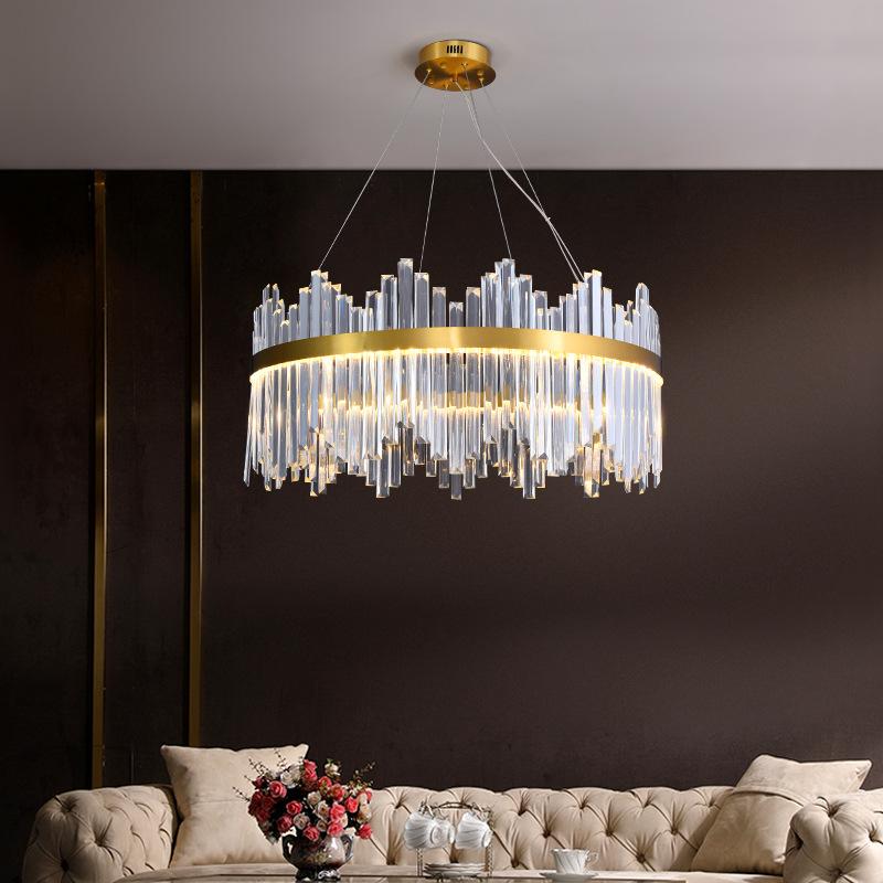 JINLIJIA All copper light luxury crystal household living room chandelier post modern dining room la