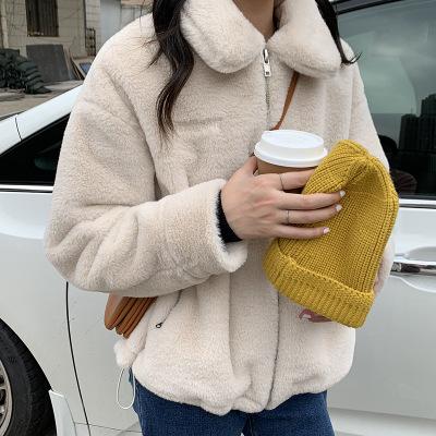 hooozen Áo khoác lửng Chữ thêu dây rút sang trọng áo khoác nữ dáng ngắn 2020 mùa đông hàn quốc ấm áp