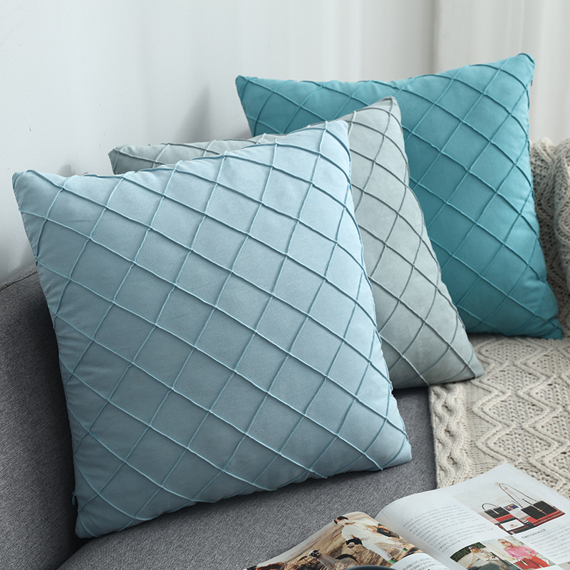 XUANYING ins Nordic suede plaid car cushion, bedside pillow, pillowcase, cross-border supply of hous