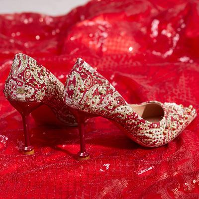 Giày cô dâu Xiuhe giày cưới phụ nữ 2020 giày bánh mì nướng mới của Trung Quốc giày cưới màu đỏ giày
