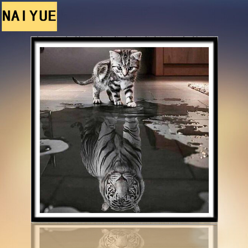 NAIYUE 5d diamond painting cat reflection tiger complete diamond embroidery decorative painting