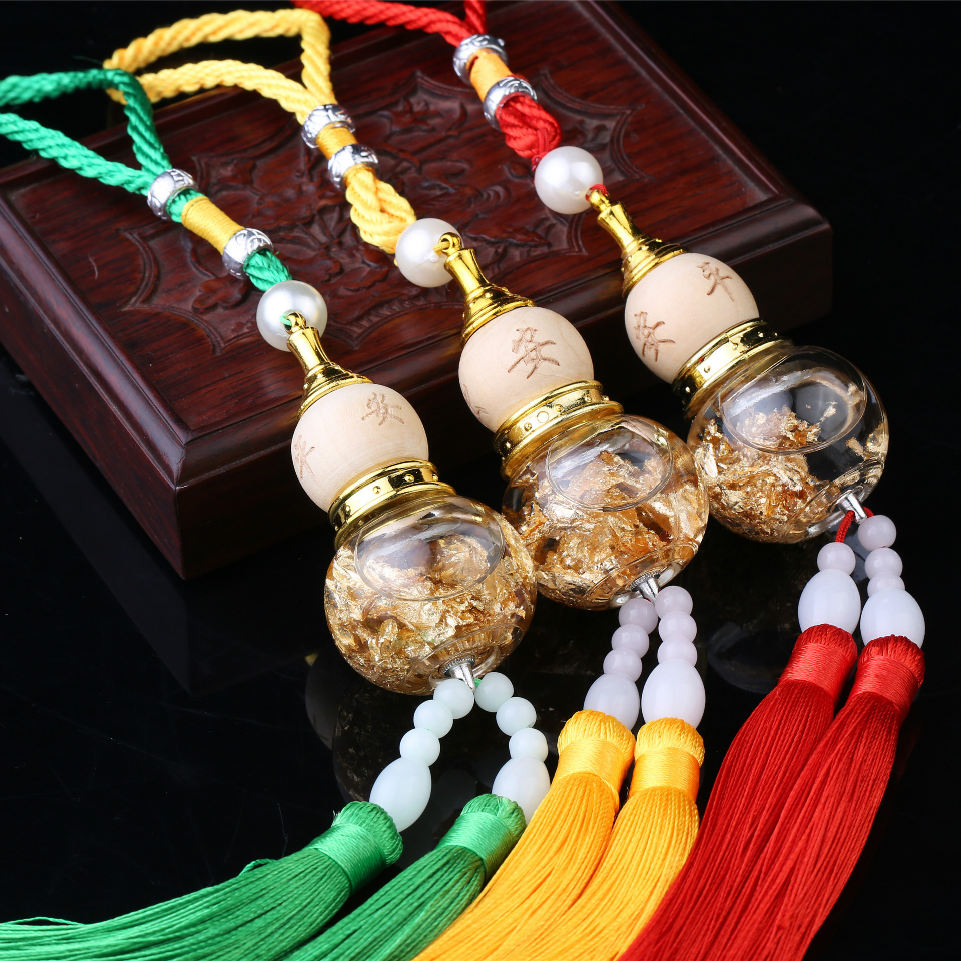 CHEYIFANG Car gourd pendant Gold foil bottom double-bearded gourd pendant car interior accessories c