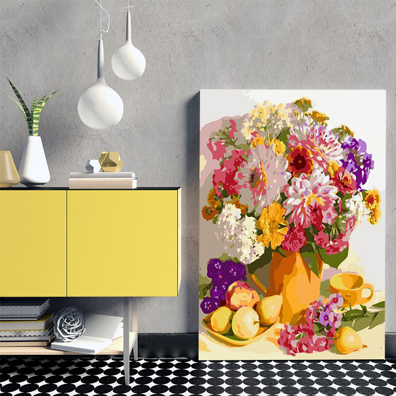YUMENG Decompression flower and plant decoration painting manual coloring digital oil painting