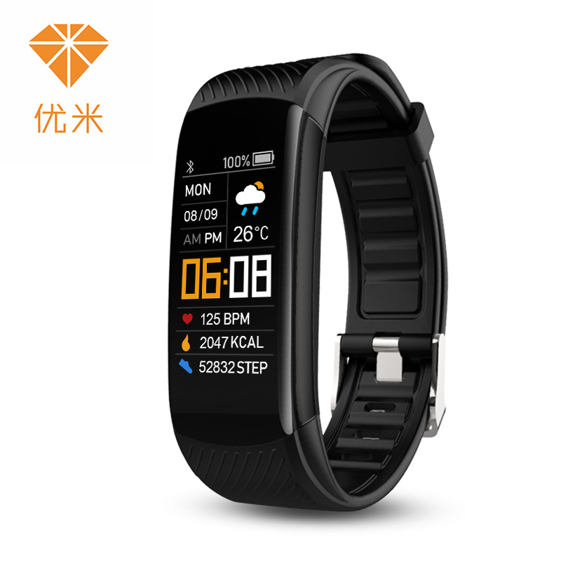 Yomi C5S color screen adult sports silicone pedometer bracelet, heart rate health monitoring remote