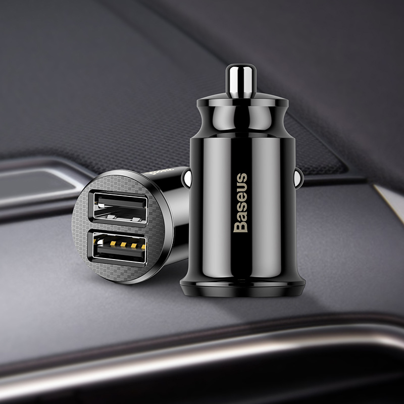 BASEUS Beisi millet intelligent car charger 3.1a dual USB indicator light car phone Mini quick charg