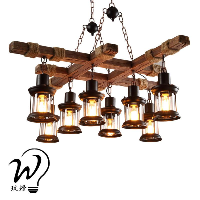 Nostalgic Wood Decorative Lamp Retro industrial style dining room living room theme bar Internet caf