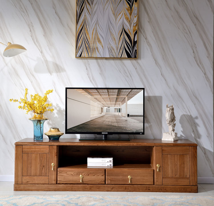 MAICHAO North American ebony light luxury solid wood TV cabinet cloud series Nordic simple living ro