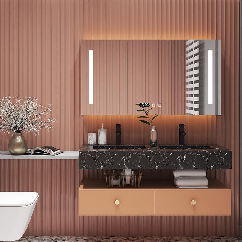 KAFENJIE Light luxury marble bathroom cabinet rock plate vanity unit basin bathroom vanity sink cabi