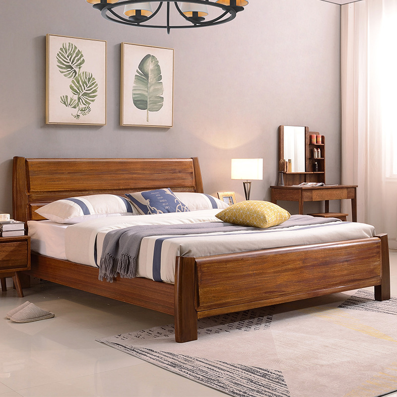 ZHIJU Walnut all solid wood bed modern simple solid wood bed master bedroom 1.8m1.5m Nordic storage