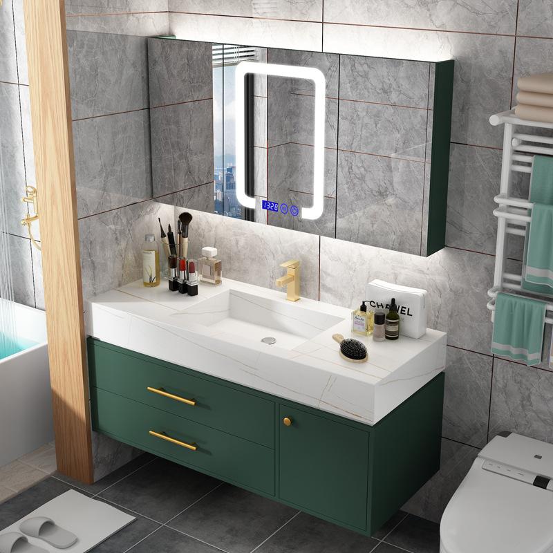 BIXUAN Rock and plate integrated basin Nordic light luxury bathroom cabinet combination simple smart