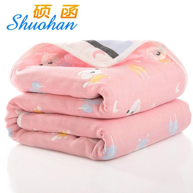 SHUOHAN 110 * 110cm cotton six layer gauze children's towel is held by baby gauze bath towel baby c