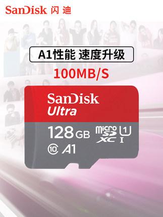 Sandisk Thẻ nhớ chính thức hàng đầu lưu trữ thẻ nhớ 128g điện thoại di động tf phim hoạt hình với th