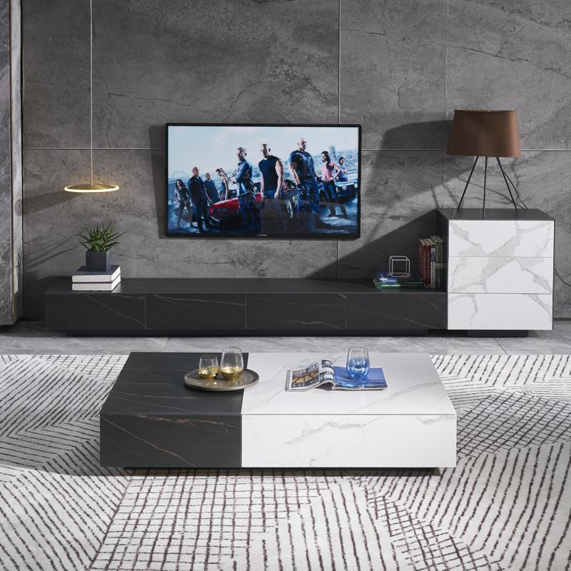 ZHONGYI Tea table TV cabinet combination small family living room furniture rock plate tea table TV