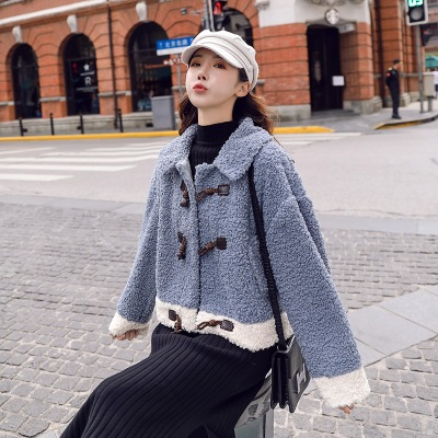 Áo khoác lửng Real shot mùa đông áo khoác len cừu phụ nữ mùa đông ngắn năm 2020 mới mùa thu và mùa đ