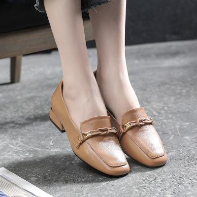 Giày mọi da cao gót loại da bò lớp đầu tiên cho nữ .