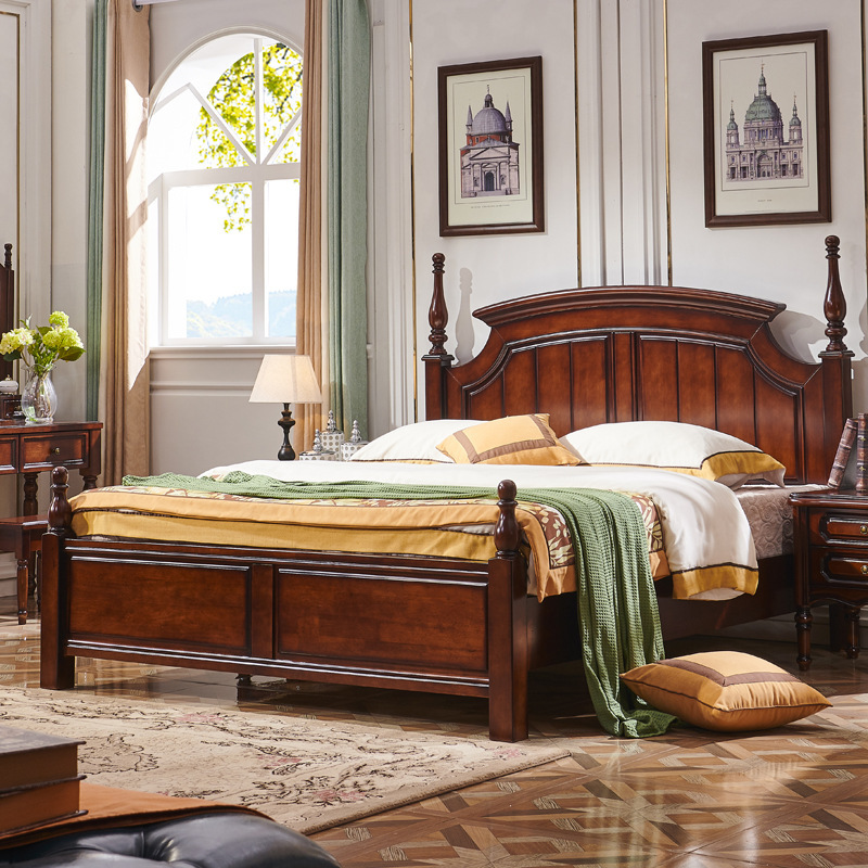 DESHANJU American bed country all solid wood bed 1.8m double bed light luxury oak modern simple bed