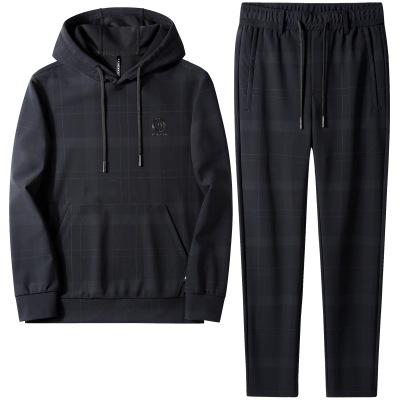 PRINCEEAGLE Đồ Suits In có mũ trùm đầu bộ đồ thể thao nam mùa thu đơn giản thời trang giản dị áo len