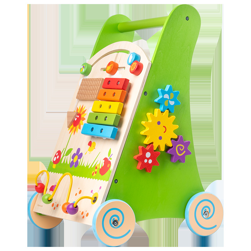 Wooden multi functional walking driver cart learning to walk baby baby Tongyi intelligence toy