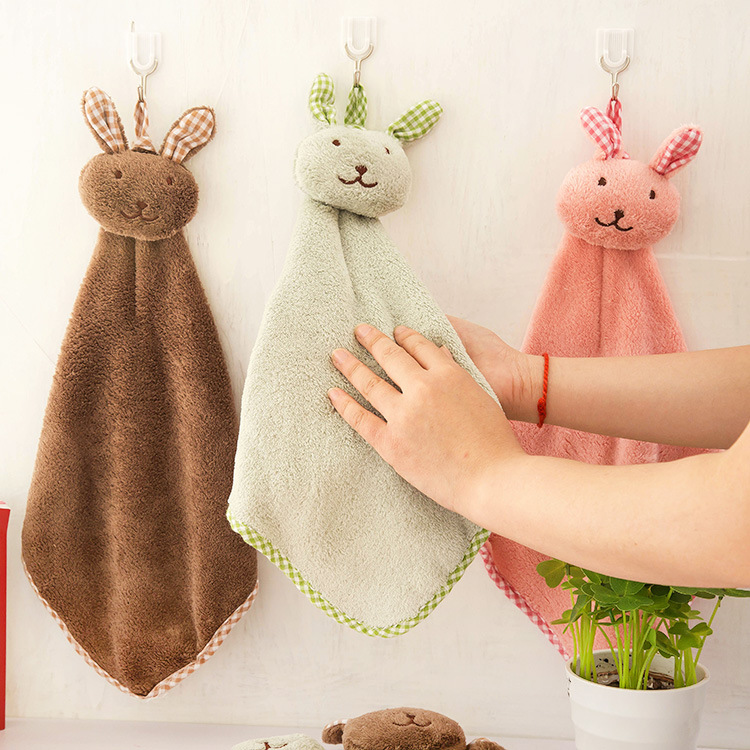 Lovely rabbit small square towel kitchen bathroom hanging towel coral towel towel dishcloth