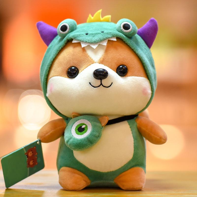 MENGZAI Creative squirrel doll cute transformed into Dinosaur Plush Toy