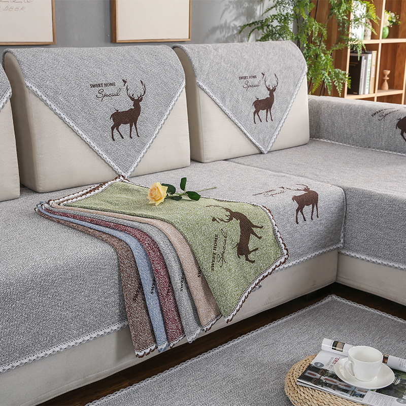 GUANGRUI Four seasons cotton and linen sofa cushion solid color old coarse cloth sofa cushion modern