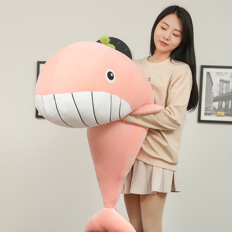 Lovely big whale plush toy girl pillow doll dolphin holding sleeping doll