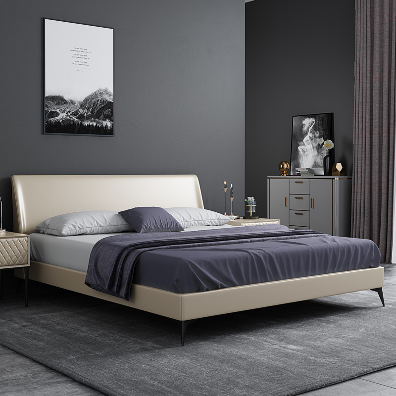 HJLC Nordic leather bed master bedroom double bed modern minimalist 1.8 meters leather bed light lux