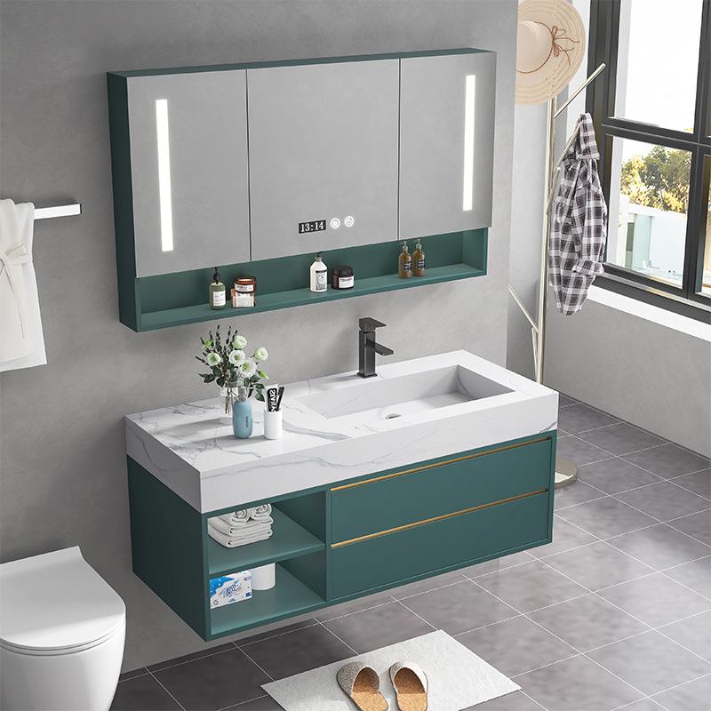 JIUKAI Nordic light luxury rock board one basin solid wood bathroom cabinet combination modern minim