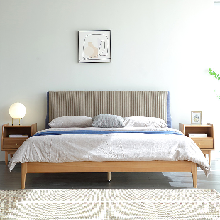 DAHAHA Nordic solid wood bed 1.8m cherry wood bed Master bedroom double bed modern minimalist Japane