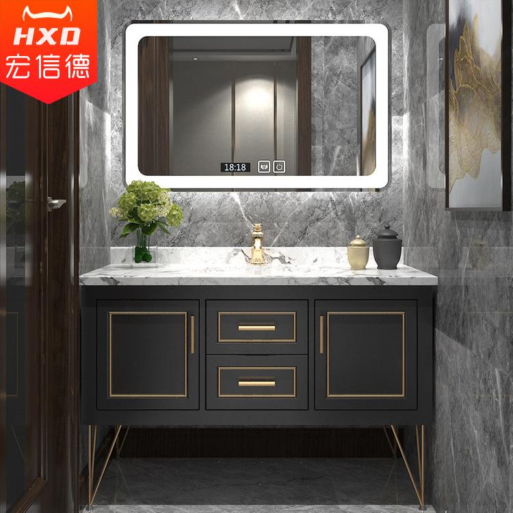 HXD Light luxury Nordic solid wood bathroom cabinet, smart mirror, bathroom vanity basin, wash basin