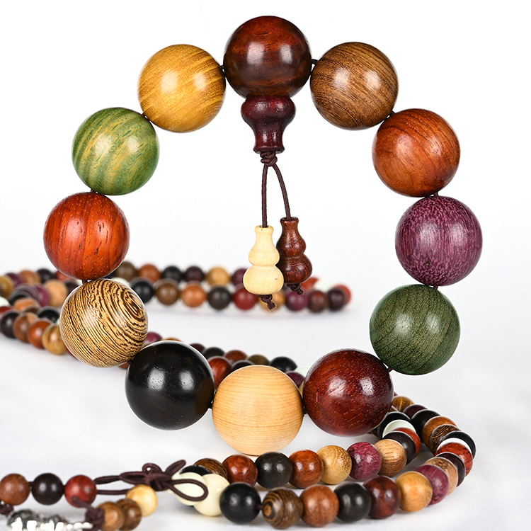 HUAYIGE 108 pieces of pure natural sandalwood Buddha beads 6 / 8mm lovers