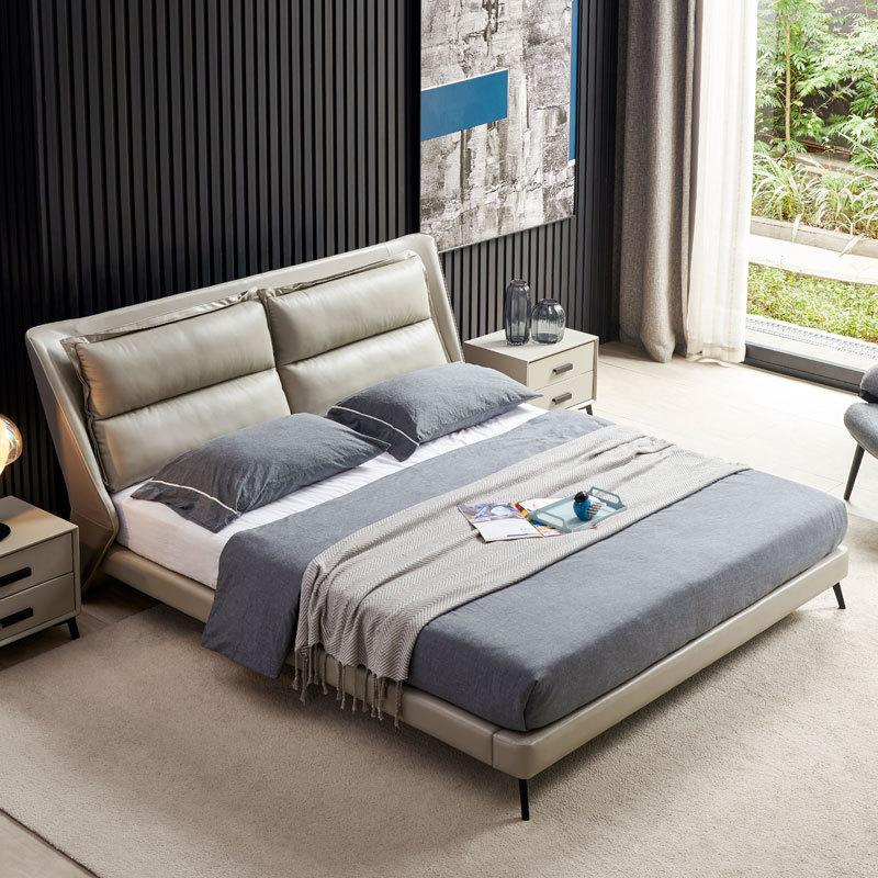 QIANYICAI Italian minimalist leather bed, modern minimalist Nordic master bedroom 1.5 1.8 meters dou