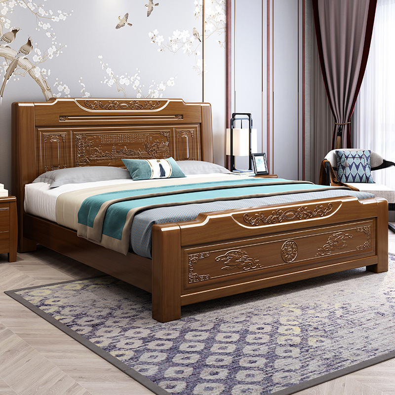 XUANHAN Solid wood bed double imitation classical Chinese bed 1.5m 1.8m bed storage high box Orchid